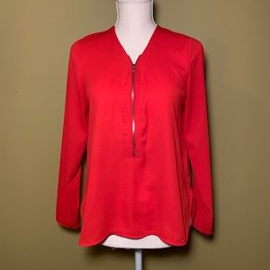 Harlowe & Graham Red Zip Front Blouse